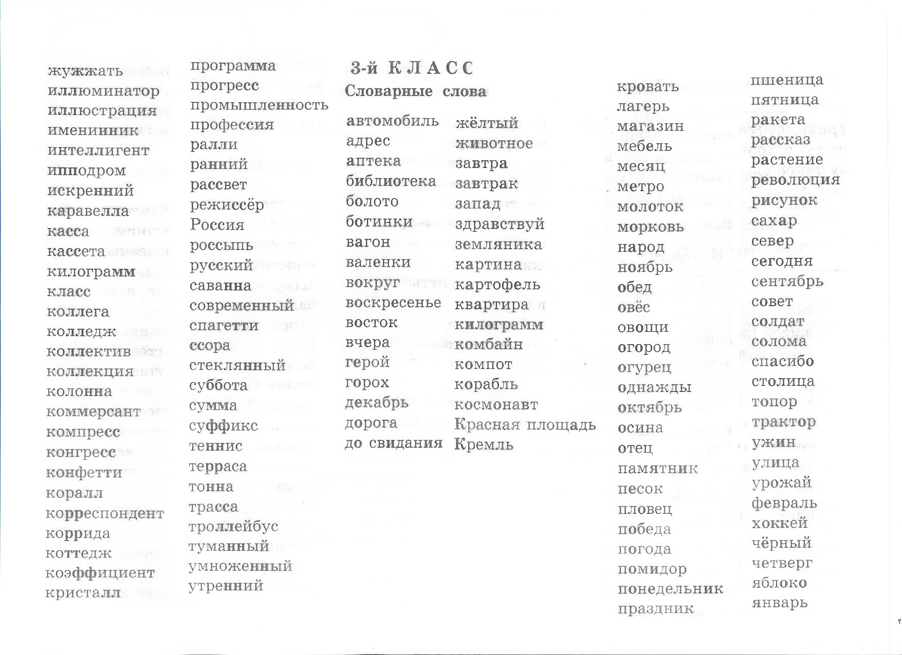 кубической словарные слова 1 класс школа россии список Рыб